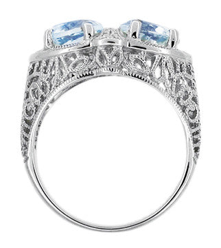 Art Deco Filigree Sky Blue Topaz Loving Duo Ring in Sterling Silver - Item: R1123 - Image: 1