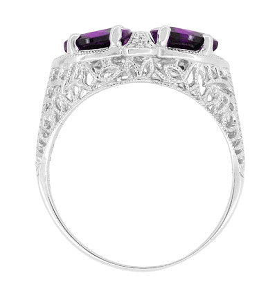Art Deco Loving Duo Filigree 2 Stone Amethyst Ring in Sterling Silver - Item: R1123AM - Image: 3