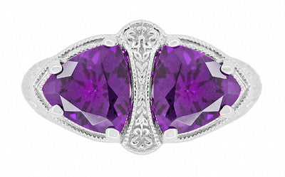 Art Deco Loving Duo Filigree 2 Stone Amethyst Ring in Sterling Silver - Item: R1123AM - Image: 4