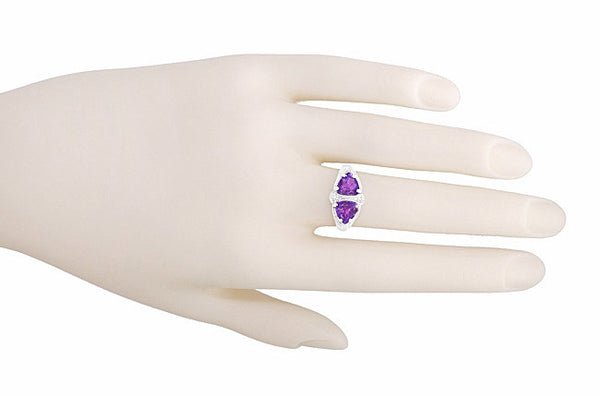 Art Deco Loving Duo Filigree 2 Stone Amethyst Ring in Sterling Silver - Item: R1123AM - Image: 5