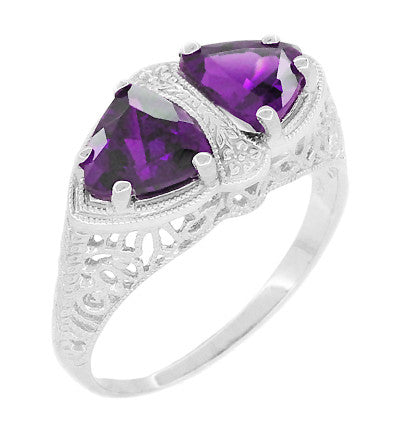 Art Deco Loving Duo Filigree 2 Stone Amethyst Ring in Sterling Silver - Item: R1123AM - Image: 1