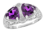 Art Deco Loving Duo Filigree 2 Stone Amethyst Ring in Sterling Silver