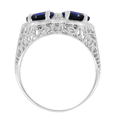 Art Deco Filigree Blue Sapphire Loving Duo Trillion Ring in Sterling Silver - Item: R1123S - Image: 3