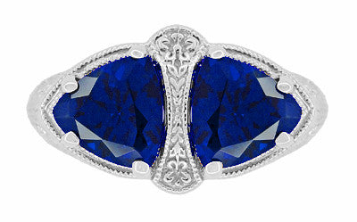Art Deco Filigree Blue Sapphire Loving Duo Trillion Ring in Sterling Silver - Item: R1123S - Image: 4