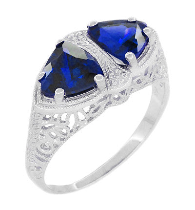 Art Deco Filigree Blue Sapphire Loving Duo Trillion Ring in Sterling Silver - Item: R1123S - Image: 1