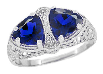 Art Deco Filigree Blue Sapphire Loving Duo Trillion Ring in Sterling Silver