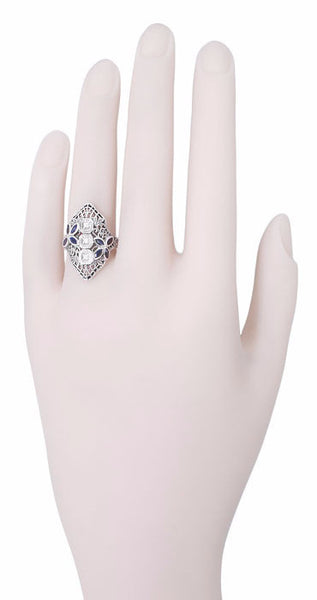 Art Deco Blue Sapphire and Cubic Zirconia Filigree Navette Ring in Sterling Silver - Item: R1124 - Image: 2