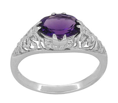 Edwardian Filigree East West Oval Amethyst Promise Ring in Sterling Silver | 1.20 Carat - Item: R1125A - Image: 2