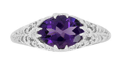 Edwardian Filigree East West Oval Amethyst Promise Ring in Sterling Silver | 1.20 Carat - Item: R1125A - Image: 3