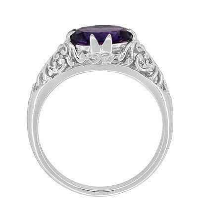 Edwardian Filigree East West Oval Amethyst Promise Ring in Sterling Silver | 1.20 Carat - Item: R1125A - Image: 4
