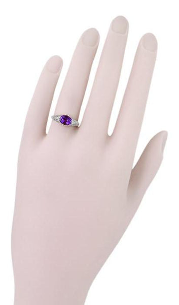 Edwardian Filigree East West Oval Amethyst Promise Ring in Sterling Silver | 1.20 Carat - Item: R1125A - Image: 5