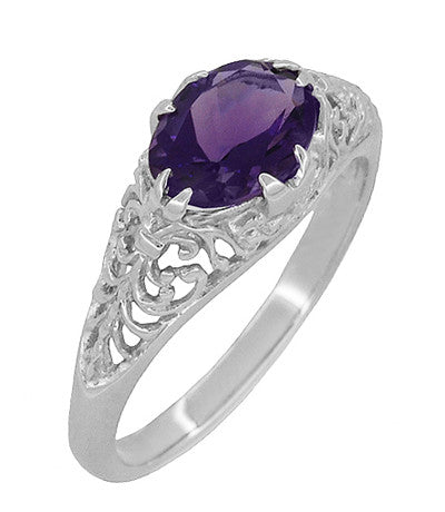 Edwardian Filigree East West Oval Amethyst Promise Ring in Sterling Silver | 1.20 Carat - Item: R1125A - Image: 1