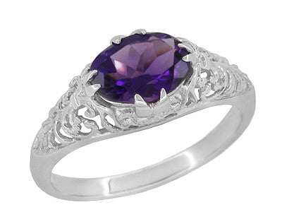 Edwardian Filigree East West Oval Amethyst Promise Ring in Sterling Silver | 1.20 Carat