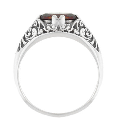 Edwardian Filigree Oval Almandine Garnet Promise Ring in Sterling Silver - Item: R1125G - Image: 3