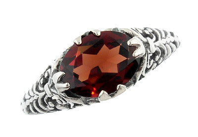 Edwardian Filigree Oval Almandine Garnet Promise Ring in Sterling Silver - Item: R1125G - Image: 1