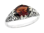 Edwardian Filigree Oval Almandine Garnet Promise Ring in Sterling Silver