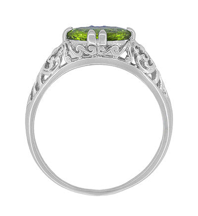 Filigree Edwardian East West 1.35 Carat Oval Peridot Promise Ring in Sterling Silver - Item: R1125PER - Image: 3