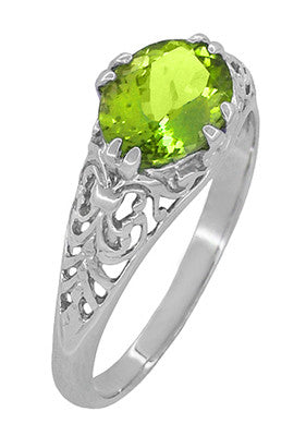 Filigree Edwardian East West 1.35 Carat Oval Peridot Promise Ring in Sterling Silver - Item: R1125PER - Image: 1