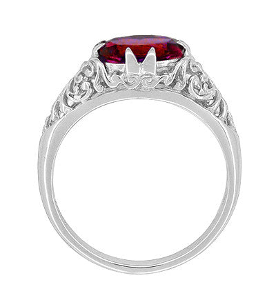 Filigree Edwardian Oval Ruby Promise Ring in Sterling Silver | 1.70 Carats - Item: R1125R - Image: 2