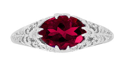 Filigree Edwardian Oval Ruby Promise Ring in Sterling Silver | 1.70 Carats - Item: R1125R - Image: 3