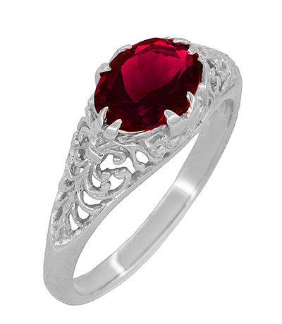 Filigree Edwardian Oval Ruby Promise Ring in Sterling Silver | 1.70 Carats - Item: R1125R - Image: 1