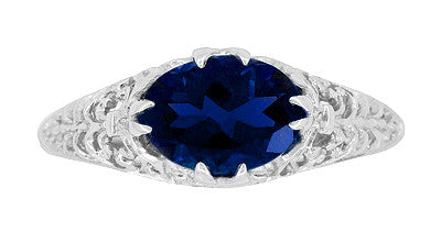 Oval Lab Created Blue Sapphire Filigree Edwardian Promise Ring in Sterling Silver - 1.25 Carats - Item: R1125S - Image: 3