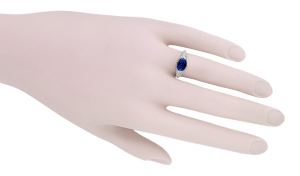 Oval Lab Created Blue Sapphire Filigree Edwardian Promise Ring in Sterling Silver - 1.25 Carats - Item: R1125S - Image: 4