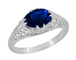 Oval Lab Created Blue Sapphire Filigree Edwardian Promise Ring in Sterling Silver - 1.25 Carats