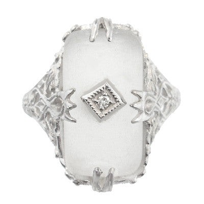 Art Deco Filigree Camphor Crystal Ring with Diamond Center in 14 Karat White Gold - Item: R1126 - Image: 2