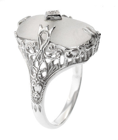 Art Deco Filigree Camphor Crystal Ring with Diamond Center in 14 Karat White Gold - Item: R1126 - Image: 3