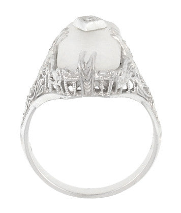 Art Deco Filigree Camphor Crystal Ring with Diamond Center in 14 Karat White Gold - Item: R1126 - Image: 4