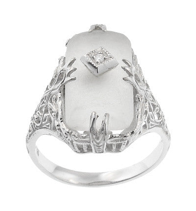 Art Deco Filigree Camphor Crystal Ring with Diamond Center in 14 Karat White Gold - Item: R1126 - Image: 1