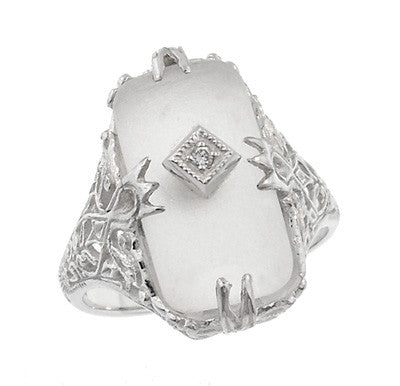 Art Deco Filigree Camphor Crystal Ring with Diamond Center in 14 Karat White Gold