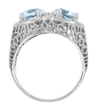 Art Deco Loving Duo Filigree Blue Topaz 2 Stone Ring in 14 Karat White Gold - Item: R1129 - Image: 2