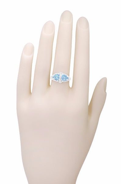 Art Deco Loving Duo Filigree Blue Topaz 2 Stone Ring in 14 Karat White Gold - Item: R1129 - Image: 3
