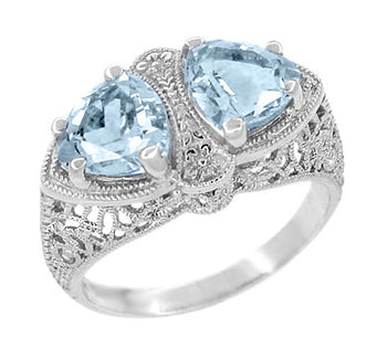 Art Deco Loving Duo Filigree Blue Topaz 2 Stone Ring in 14 Karat White Gold
