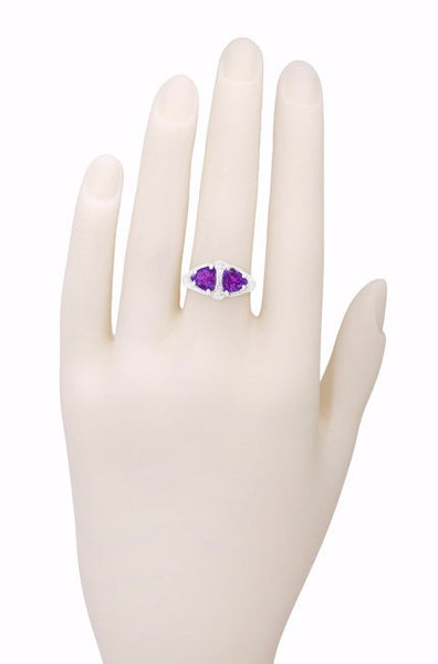 Art Deco Filigree Loving Duo East to West Amethyst Ring in 14 Karat White Gold - February Birthstone - Item: R1129AM - Image: 5