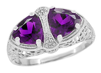 Art Deco Filigree Loving Duo East to West Amethyst Ring in 14 Karat White Gold - February Birthstone