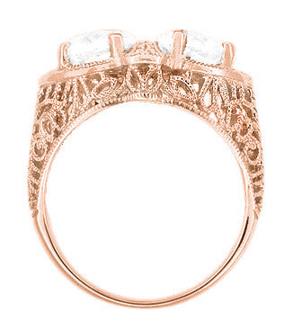 Art Deco Filigree White Topaz Loving Duo Ring in 14 Karat Rose Gold - Item: R1129RWT - Image: 2
