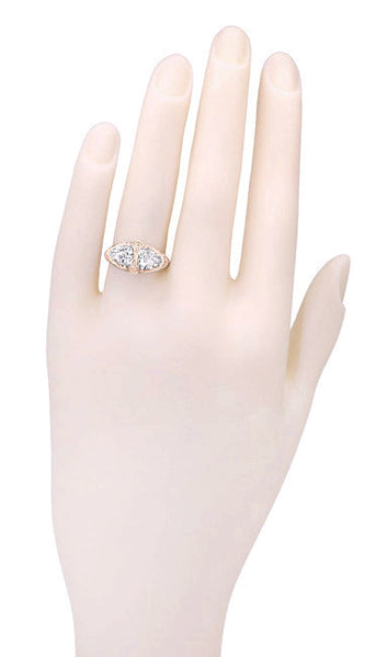 Art Deco Filigree White Topaz Loving Duo Ring in 14 Karat Rose Gold - Item: R1129RWT - Image: 3