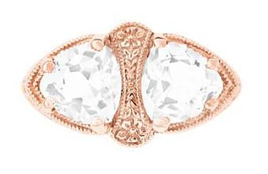Art Deco Filigree White Topaz Loving Duo Ring in 14 Karat Rose Gold - Item: R1129RWT - Image: 1