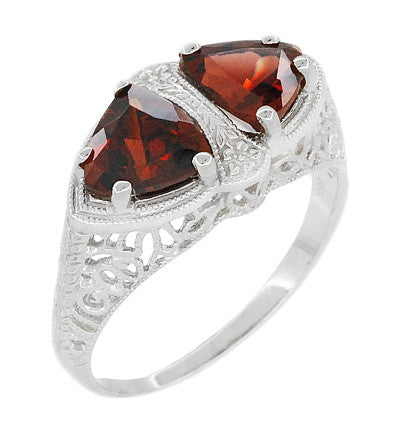 Art Deco Filigree Loving Duo Almandite Garnet Ring in 14 Karat White Gold - January Birthstone - Item: R1129WG - Image: 1