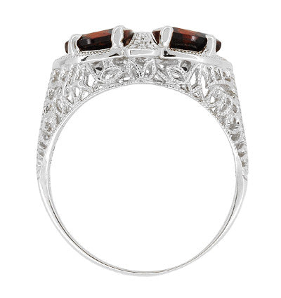 Art Deco Filigree Loving Duo Almandite Garnet Ring in 14 Karat White Gold - January Birthstone - Item: R1129WG - Image: 3
