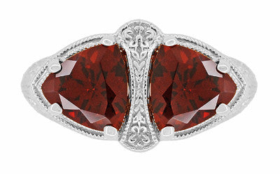 Art Deco Filigree Loving Duo Almandite Garnet Ring in 14 Karat White Gold - January Birthstone - Item: R1129WG - Image: 4
