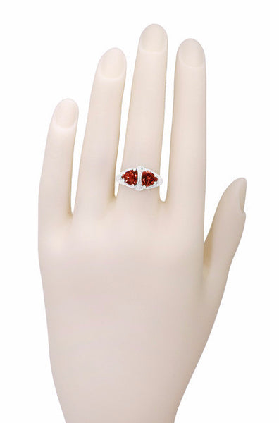 Art Deco Filigree Loving Duo Almandite Garnet Ring in 14 Karat White Gold - January Birthstone - Item: R1129WG - Image: 5