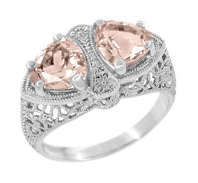 Art Deco Filigree Loving Duo Morganite Ring in 14 Karat White Gold