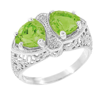 Art Deco Filigree Loving Duo Peridot Ring in 14 Karat White Gold