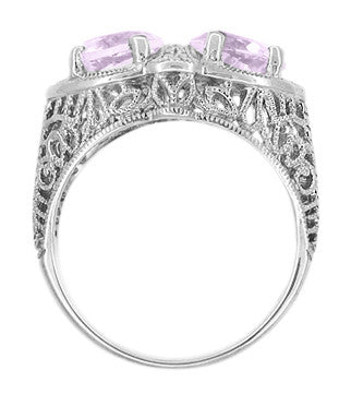 Art Deco Rose de France Amethyst Loving Duo Filigree Ring in 14 Karat White Gold - Item: R1129WRF - Image: 2
