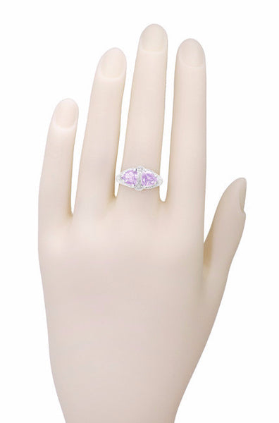 Art Deco Rose de France Amethyst Loving Duo Filigree Ring in 14 Karat White Gold - Item: R1129WRF - Image: 3