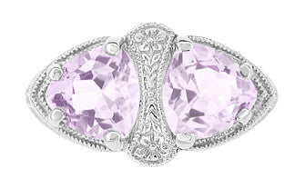 Art Deco Rose de France Amethyst Loving Duo Filigree Ring in 14 Karat White Gold - Item: R1129WRF - Image: 1